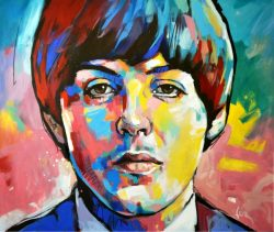 Acrylic on fabric, expressionist portrait of singer Paul McCartney